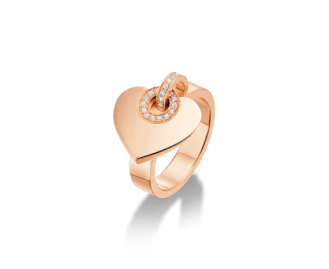BVLGARI∙BVLGARI CUORE ring in 18 kt pink gold with pavé diamonds