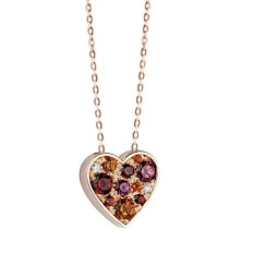 Salvini Cuore necklace, pink gold, with diamonds, garnets, rhodolites and citrine quartz.