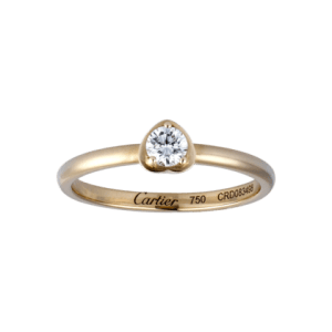 18K pink gold ring set with 1 diamond.