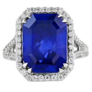 7.20 Carat Untreated Burma Sapphire Diamond Gold Cluster Ring
