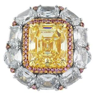 5.08 Carat Fancy Intense GIA Cert Diamond Gold Platinum Cluster Ring