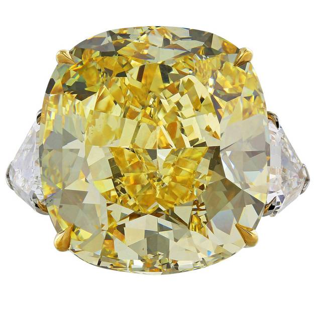 28.02 Carat Fancy Intense GIA Cert Diamond Gold Ring