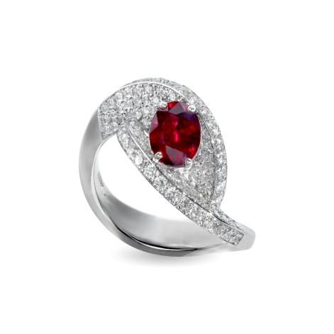 Giorgio Visconti Passione ring, in white gold with diamonds and one central ruby