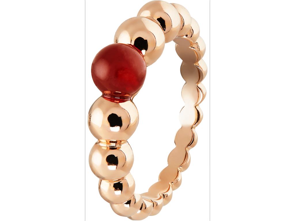 Perlée variation ring, pink gold, carnelian