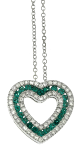 Davite & Delucchi necklace in white gold, diamonds and emeralds.