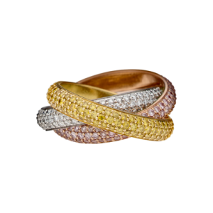 Trinity ring. 18K 3-gold ring with paved white, pink and yellow diamonds.