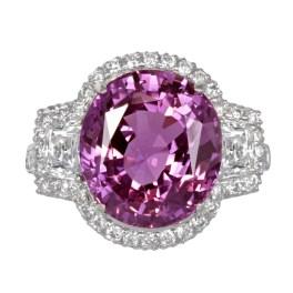 No Heat Pink Sapphire and Diamond Ring