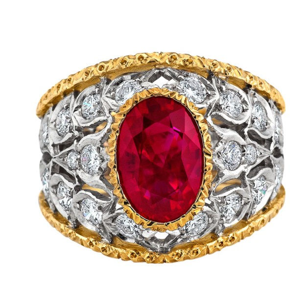Buccellati Spectacular Burma Ruby Diamond Gold Ring