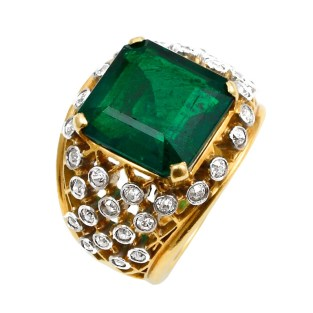 6.20 Carat Cartier Colombian Emerald No Oil Ring