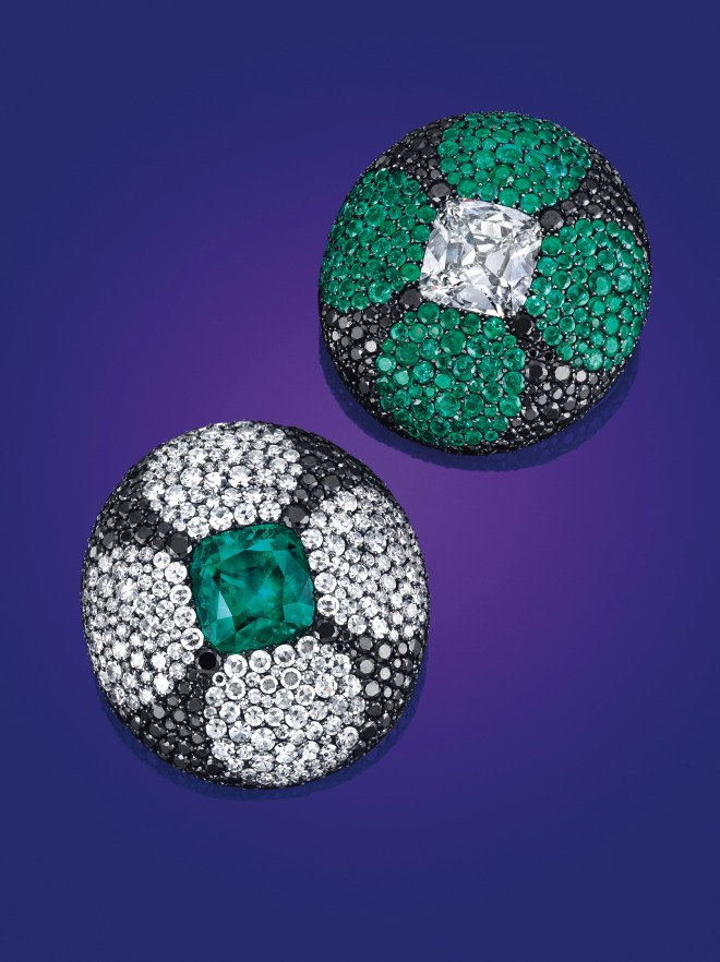 A pair of emerald, diamond and colored diamond ear clips, by JAR. Estimate $250,000 - 350,000.