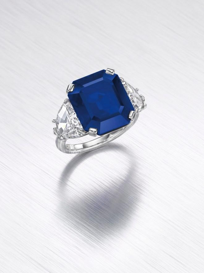An octagonal-cut Kashmir sapphire of 11.88 carats. Estimate $1,200,000 - 1,800,000.