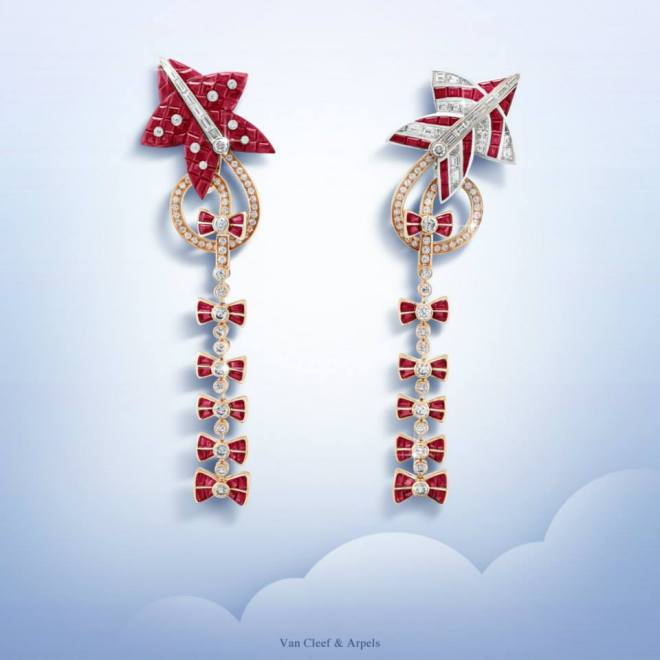 Cerfs-Volants™  Cerfs-Volants Mystérieux earrings - white and pink gold, baguette-cut rubies, Mystery Set rubies and diamonds.