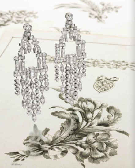 Chandelier earrings and antique drawings