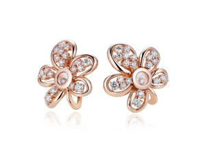 """""""Flower"""" earrings from the Happy Diamonds Joaillerie collection in 18ct rose or white gold with two moving diamonds and set with brilliant cut diamonds of different sizes (2.7cts)"""