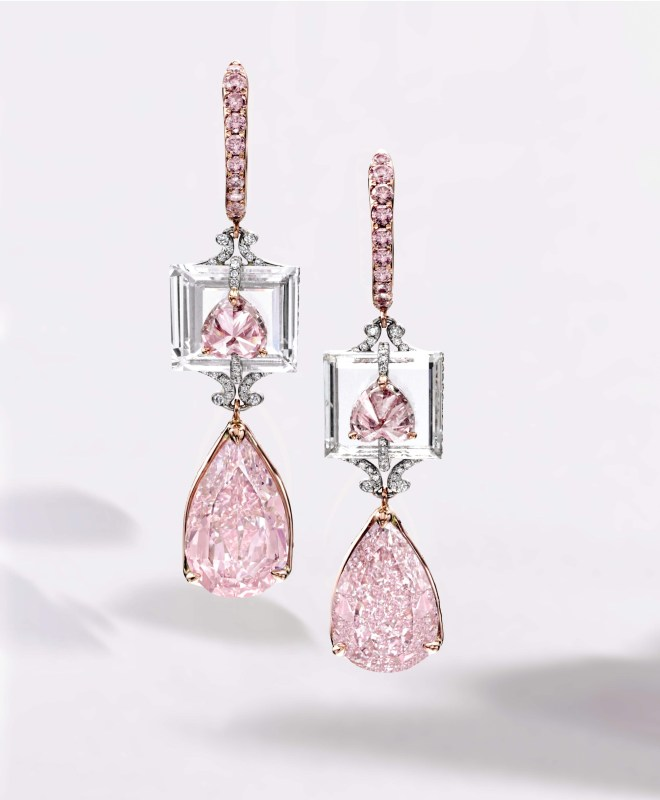 Pair of 4.01 Carat Fancy Intense Purple-Pink Diamond, 3.72 Carat Fancy Intense Purplish-Pink Diamond and Diamond Pendent Earrings