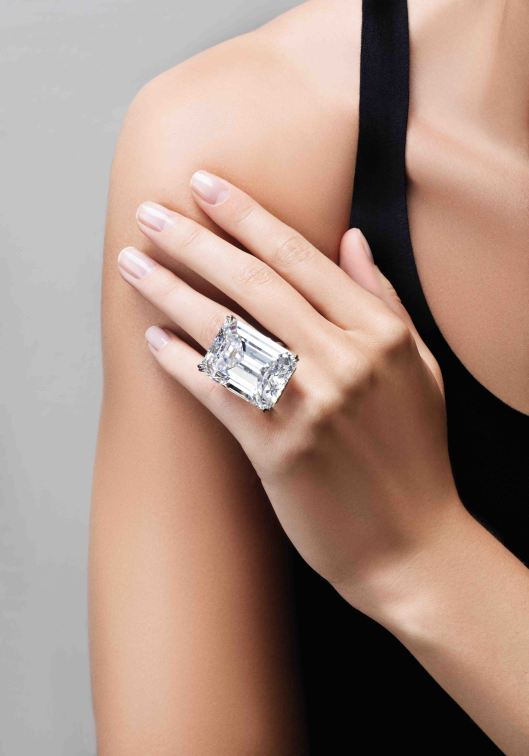 100-carat perfect diamond, emerald-cut. D colour, Internally Flawless clarity.