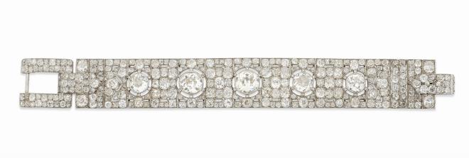 An impressive Art Deco diamond bracelet, by Hennell Estimate: £30,000 - 50,000