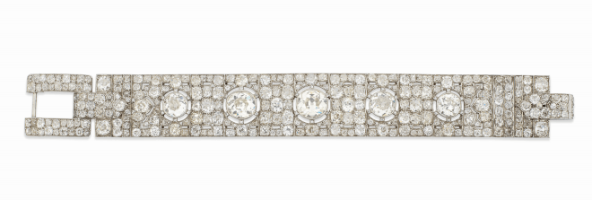 An impressive Art Deco diamond bracelet, by Hennell Estimate: £30,000 - 50,000