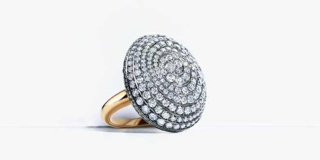 Blue Diamond Pebble Ring