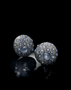 "A pair of sapphire and diamond ""shield"" ear clips, by JAR"
