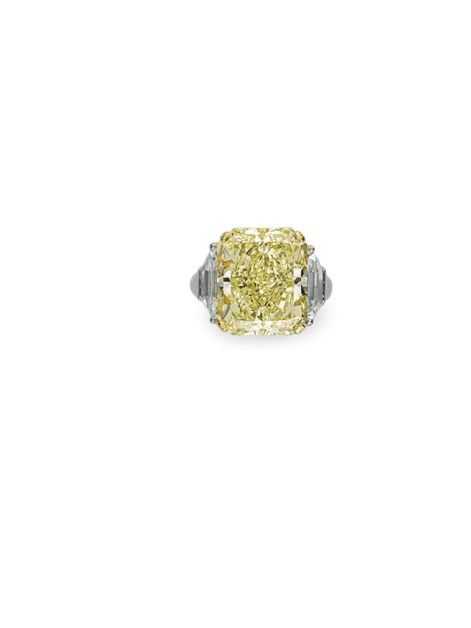 A CUT-CORNERED FANCY YELLOW DIAMOND OF 14.49 CARATS, BY GRAFF ESTIMATE: $250,000 – $350,000