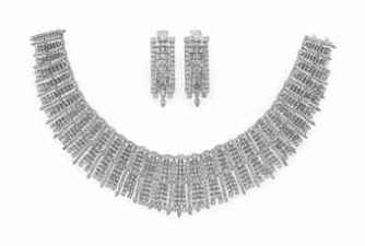 A SET OF DIAMOND JEWELRY, BY JAHAN Comprising a tapered circular, baguette and marquise-cut diamond bib necklace, suspending a fringe of graduated marquise and circular-cut diamonds, bordered by circular-cut diamonds; and a pair of ear pendants en suite, mounted in 18k white gold.