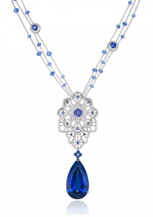 "Tanzanite, Sapphire and Diamond ""Byzantine"" Set - necklace"