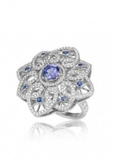 """Tanzanite, Sapphire and Diamond """"Byzantine"""" Set - ring"""