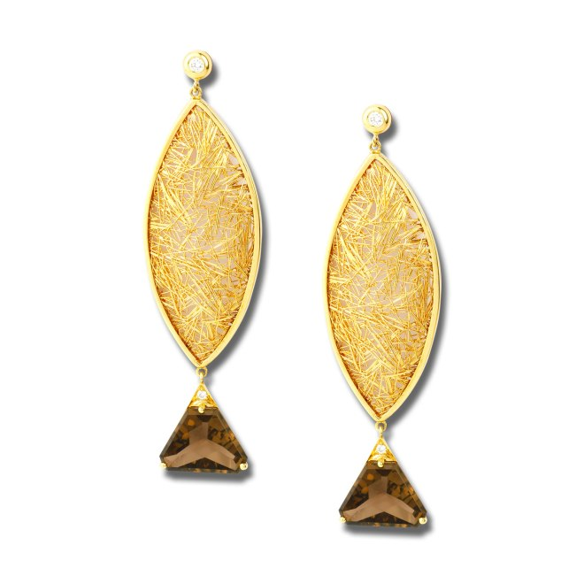 Fish of Gold Earrings. According to Homer the sea providing fish would make the place wealthy. The fish body is made of 18k yellow gold and the tale is made with 8 cts smokey quartz and brilliant round diamonds