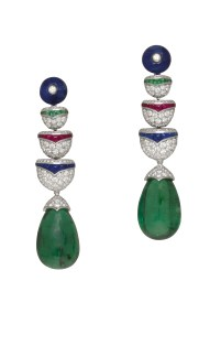 High Jewellery earrings in white gold with 2 drop shaped Zambia emeralds (30.14 ct), 2 sapphire beads (9.22 ct), buff top cut emeralds (0.24 ct), buff top cut rubies (0.54 ct), buff top cut sapphires (0.76 ct) and pavé diamonds (3.22 ct).