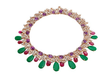 High Jewellery necklace in pink gold with 9 jadeite-jades (42.9 ct), rubellites (42.85 ct), amethysts (45 ct), diamonds (12.ct) and pavé diamonds (10.28 ct).