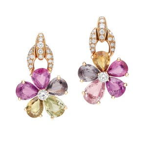 High Jewellery earrings in pink gold with 10 fancy color pear shaped sapphires (20.93 ct), 2 round brilliant cut diamonds and pavé diamonds (1.63 ct).