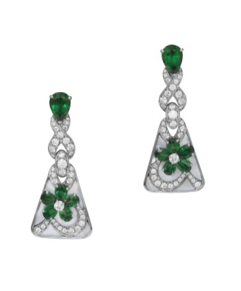 High Jewellery earrings in platinum and mother of pearl inserts with 12 pear shaped emeralds (5.66 ct) and 2 round brilliant cut diamonds and pavé diamonds (2.73 ct).