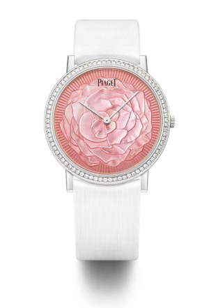 Grand Feu Enamel. Piaget Altiplano 38mm watch in white gold featuring a bezel set with 78 brilliant-cut diamonds (approx. 0.7 ct). Silvered dial with Yves Piaget rose motif engraved and coated with transparent enamel. 18-piece limited edition.