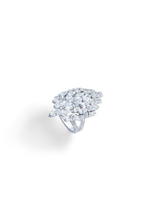 Ring in 18K white gold set with 1 marquise-cut diamond (approx. 1.01 cts), 14 marquise-cut diamonds (approx. 2.33 cts) and 55 brilliant-cut diamonds (approx. 1.42 cts).