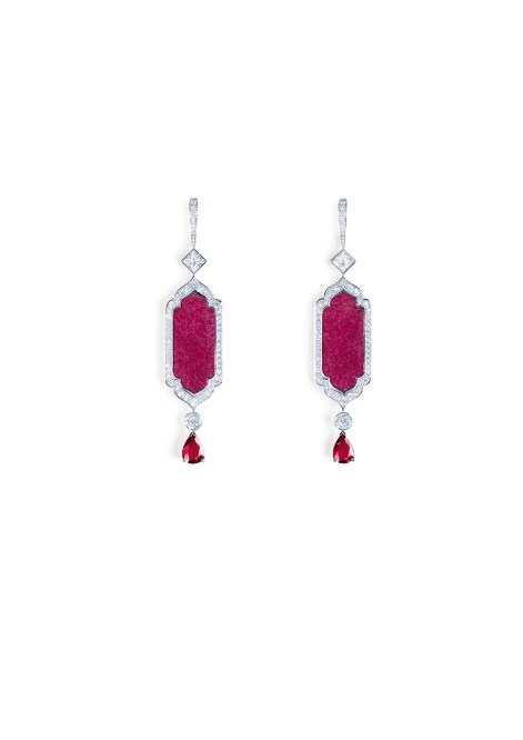 Earrings in 18K white gold set with 2 pear-shaped rubies (approx. 4.13 cts), 2 fancy-cut ruby roots (approx. 12.88 cts), 2 princess-cut diamond (approx. 1.41 cts), and 120 brilliant-cut diamonds (approx. 2.93 cts).