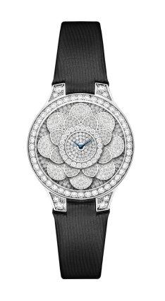 Graff Icon Watch: full diamonds and black satin strap.
