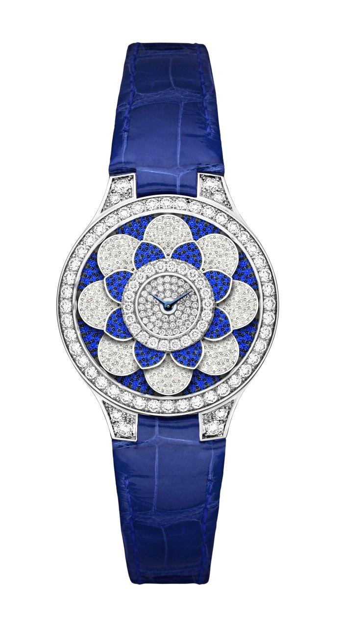 Graff Icon Watch: diamonds, sapphires and blue croco strap.