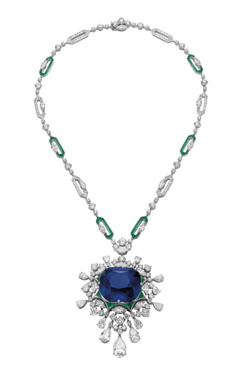 LOVE's PARADISE high Jewellery necklace in white gold with 1 cushion shaped modified brilliant step cut sapphire (125.35 ct),Fancy and round brilliant cut diamond (33.18 ct) and pavé diamonds.