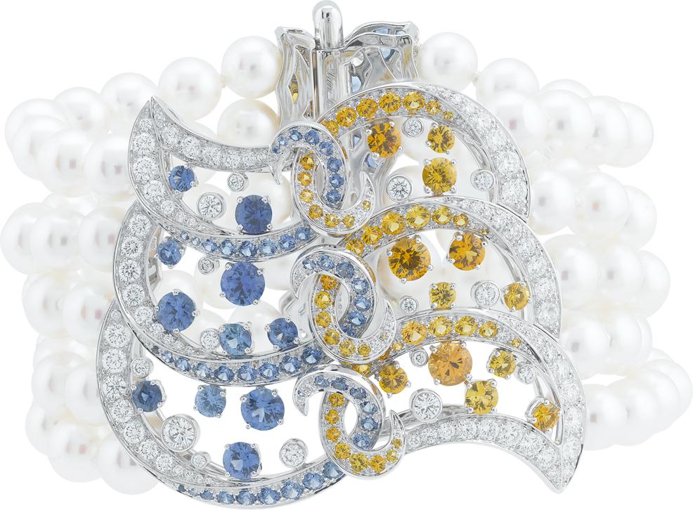 Benguerra Bracelet. Bracelet, white gold, diamonds, blue and yellow sapphires, spessartite garnets, white cultured pearls.