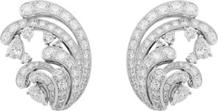 Pangée Earrings. Earrings, white gold, round and pear-shaped diamonds