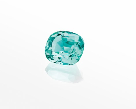 One cushion-cut green tourmaline of 15.73 carats.