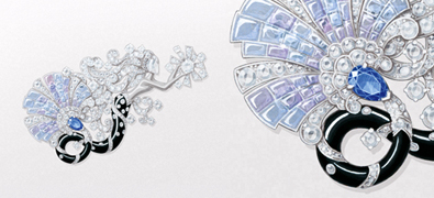 Sirène Mystérieuse Clip. White gold, round and rose-cut diamonds, pear-shaped sapphire, Mystery Set coloured sapphires, onyx.