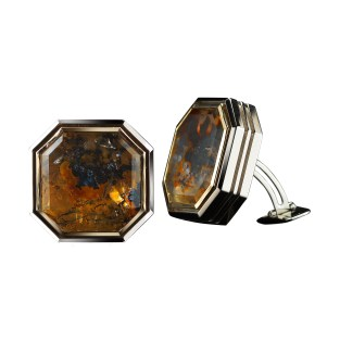A pair of Asscher-cut Dendritic Quartz cufflinks, bezel set in 18-karat yellow gold and 18-karat white gold surrounded by an 'architectural' frame. Back has Alexandra Mor's logo gallery complimented by an Asscher-cut Diamond accent. 0.08 carat total Diamond weight. Signed by artist. Crafted in the USA.