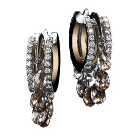 Close-fitting Oval-shape Diamond hoop earrings with 14 champagne Diamond-briolettes of 3.20 TCW, sit snugly on the ear. Alexandra Mor's signature details of 'floating' Diamond melee and knife-edged wire. 18-karat white gold set around a band of 1mm 18-karat yellow gold. Signed by artist. Crafted in the USA. Limited-Edition 1/25.