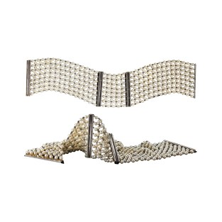A pair of pearl-mesh and Diamond cuff bracelets with Alexandra Mor's signature details of knife-edged wire and 'floating' Diamond melee. 18-karat white gold. Signed by artist. Crafted in the USA. Limited-Edition 1/15