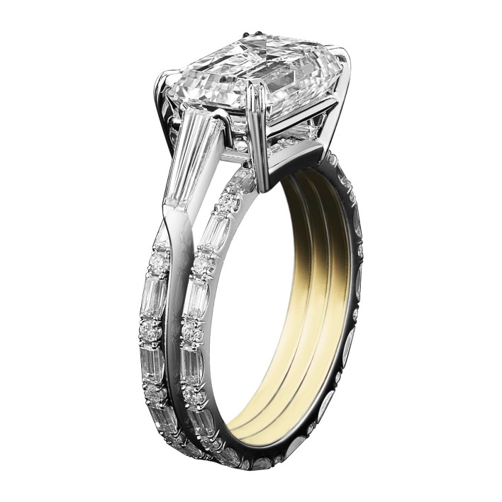 Three ring set with a center ring features an Emerald- Cut Diamond, with two side baguette diamonds. Set on a platinum knife-edged band. The two adjacent 18 Karat yellow gold bands are set with 'floating' diamond Baguettes. Platinum set around 18-karat yellow gold AM logo gallery. Signed by artist. Crafted in the USA. Limited-Edition 1/50