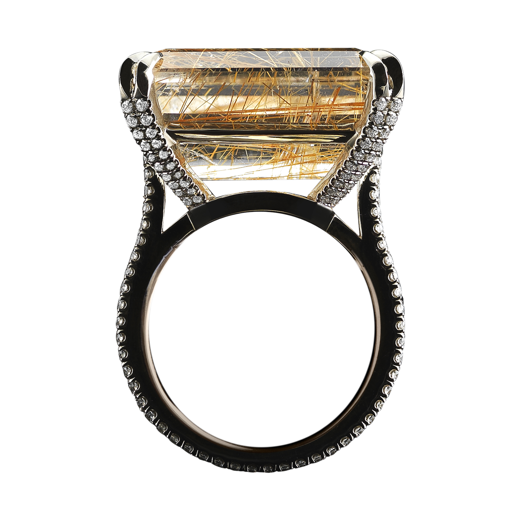 A 22.64 carat rectangular Rutilated Quartz set with Alexandra Mor's signature details of 'floating' Diamond melee and knife-edged wire. 18-karat white gold set on 1mm 18-karat yellow gold band with AM logo gallery. 0.90 total carat Diamond weight. Signed by artist. Crafted in the USA. Limited-Edition 1/25.