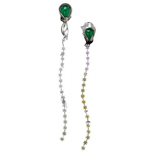 A dramatic shoulder-length pair of Diamond earrings with fancy-color Diamond flowers and a matching pair of drop-shaped vivid green Emeralds weighing 52.58 carats, each asymmetrically encircled by Alexandra Mor signature details of 1mm knife-edged wire on a leaf of 1mm 'floating' Diamond melee. Platinum leaves transitioning into 18-karat yellow gold. Connected with 175 graduating natural fancy-colored matched flower-set Diamonds transitioning from white to grayish-blue, to green, to peach, to pink and yellow. About 12 carat total Diamond weight. Signed by artist. Crafted in the USA. One-of-a-Kind 1/1.