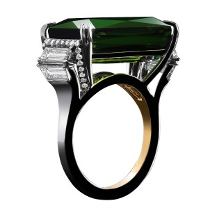 A 16.93 carat scissor-topped Emerald-cut green Tourmaline ring flanked by a pair of 1.44 carat Trapezoid Diamonds and 1mm Diamond melee. Platinum set around a band of 1mm 18-karat yellow gold. Signed by artist. Crafted in the USA. Limited-Edition 1/5